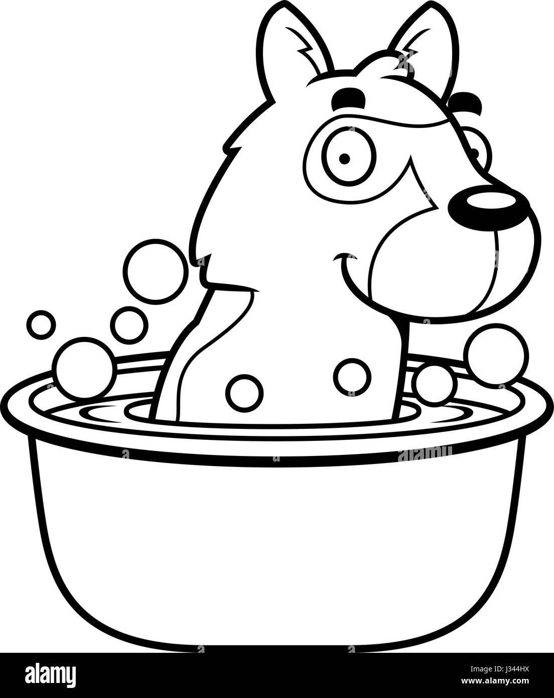 A cartoon illustration of a German Shepherd taking a bath. - Stock Vector