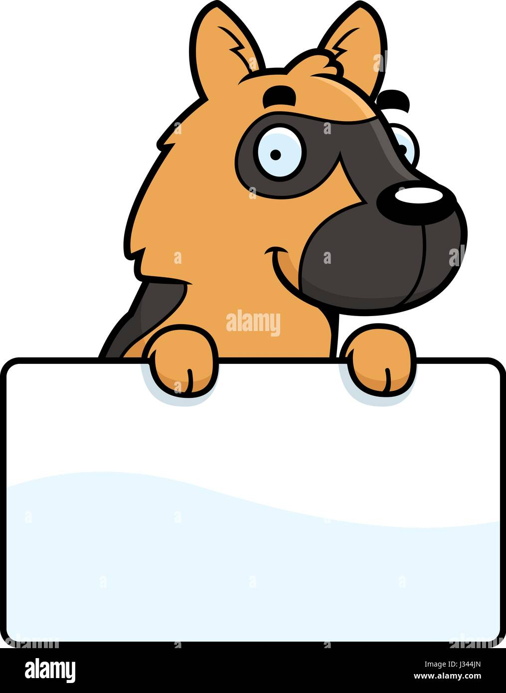 A cartoon illustration of a German Shepherd with a sign. - Stock Vector