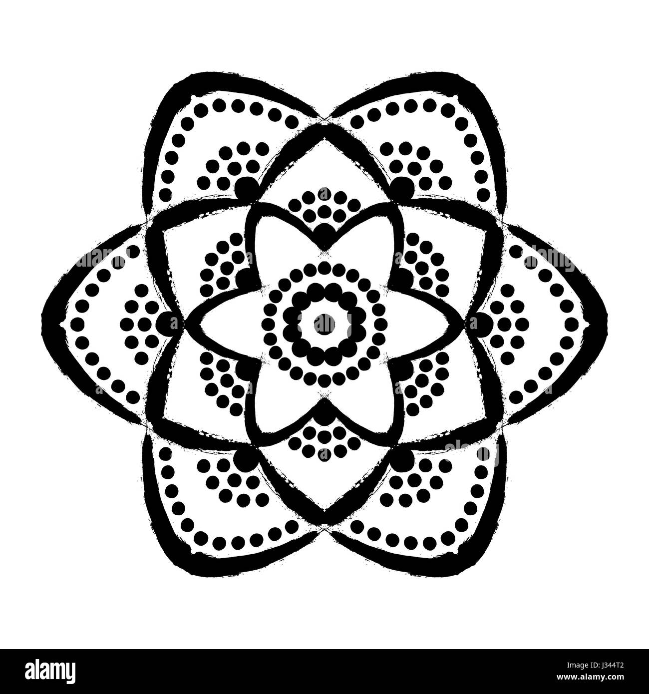 Painted Flower Dots Mandala Stock Vector Art & Illustration