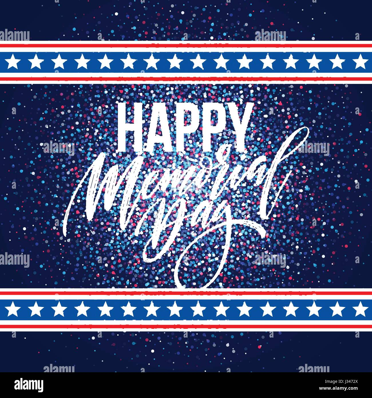 Happy Memorial Day card. National american holiday. Festive poster or banner with hand lettering. Vector illustration Stock Vector