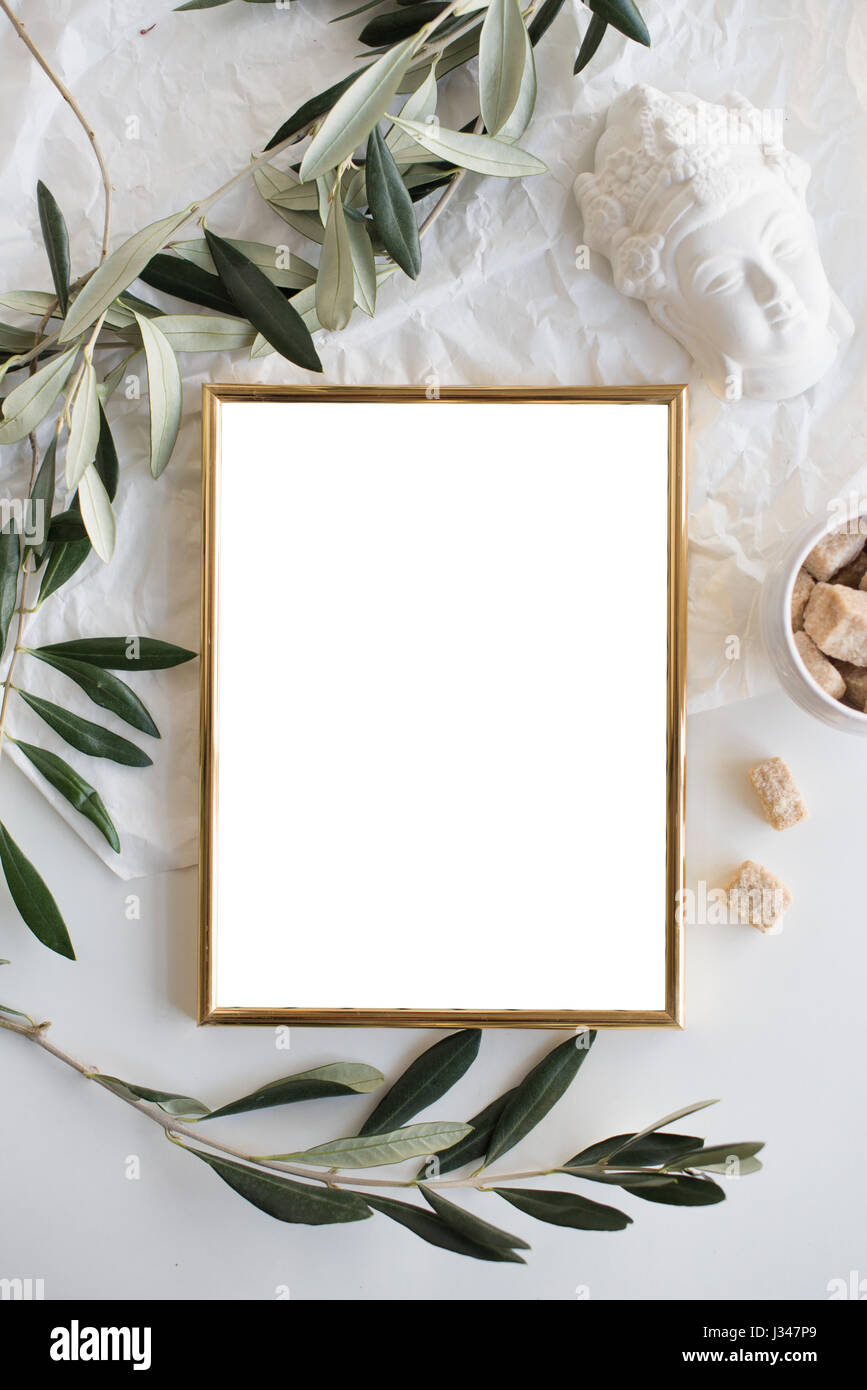 Golden Frame Mock Up On White Tabletop Background, Home Decor Flatlay With  Plants And Objects