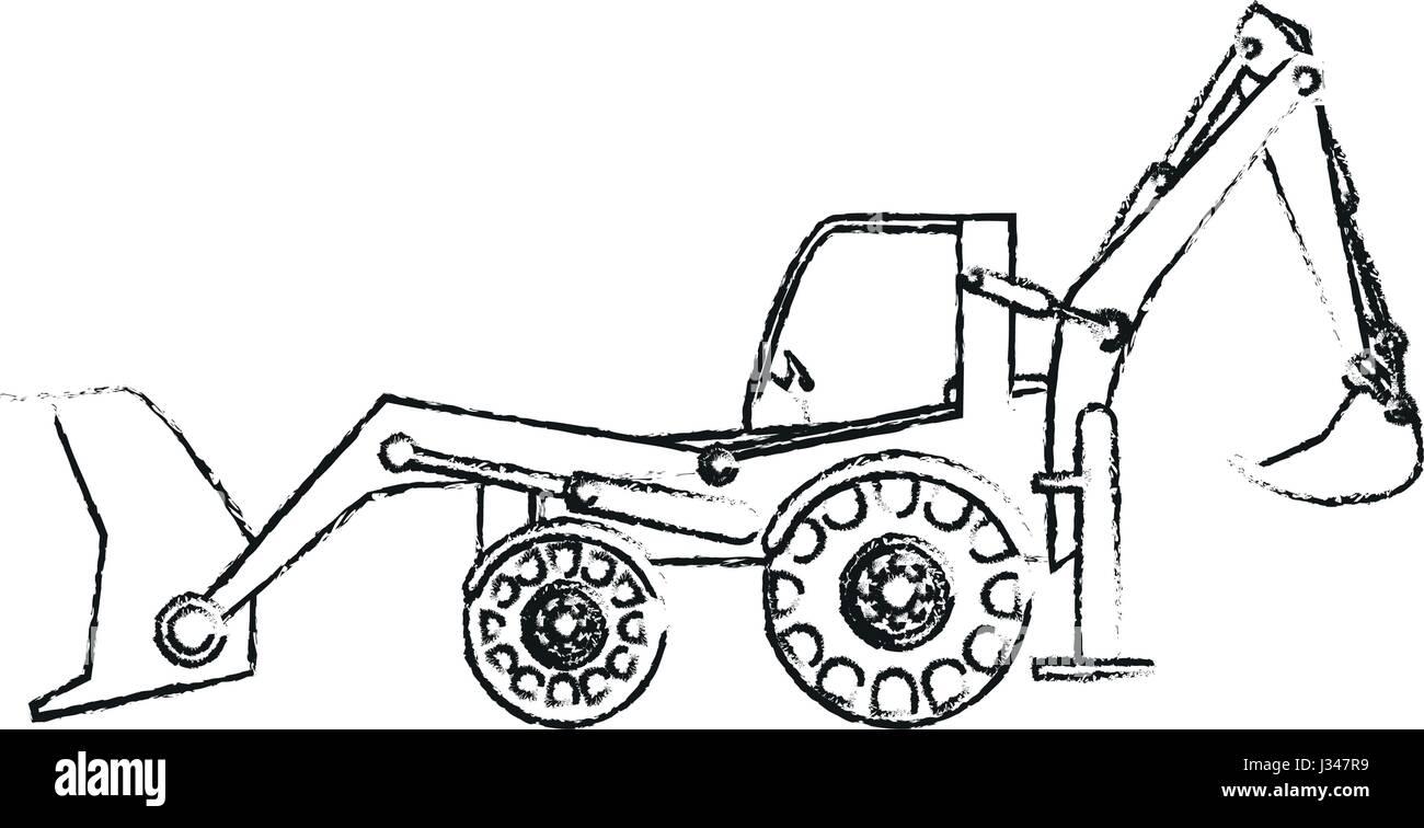 Black Blurred Silhouette Cartoon Industrial Machine Excavator