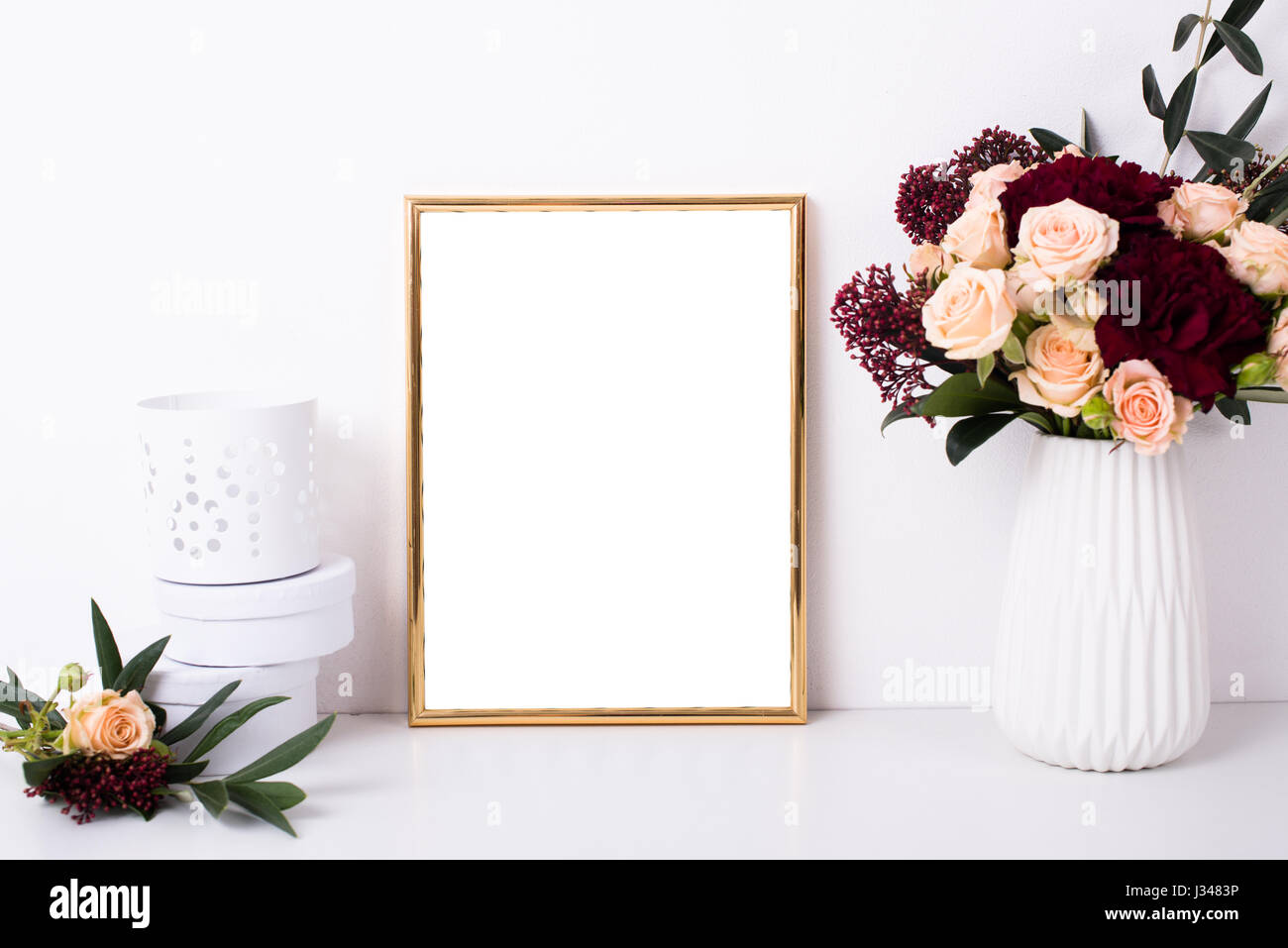 Golden Frame Mock Up On White Wall Background Home Decor With Stock