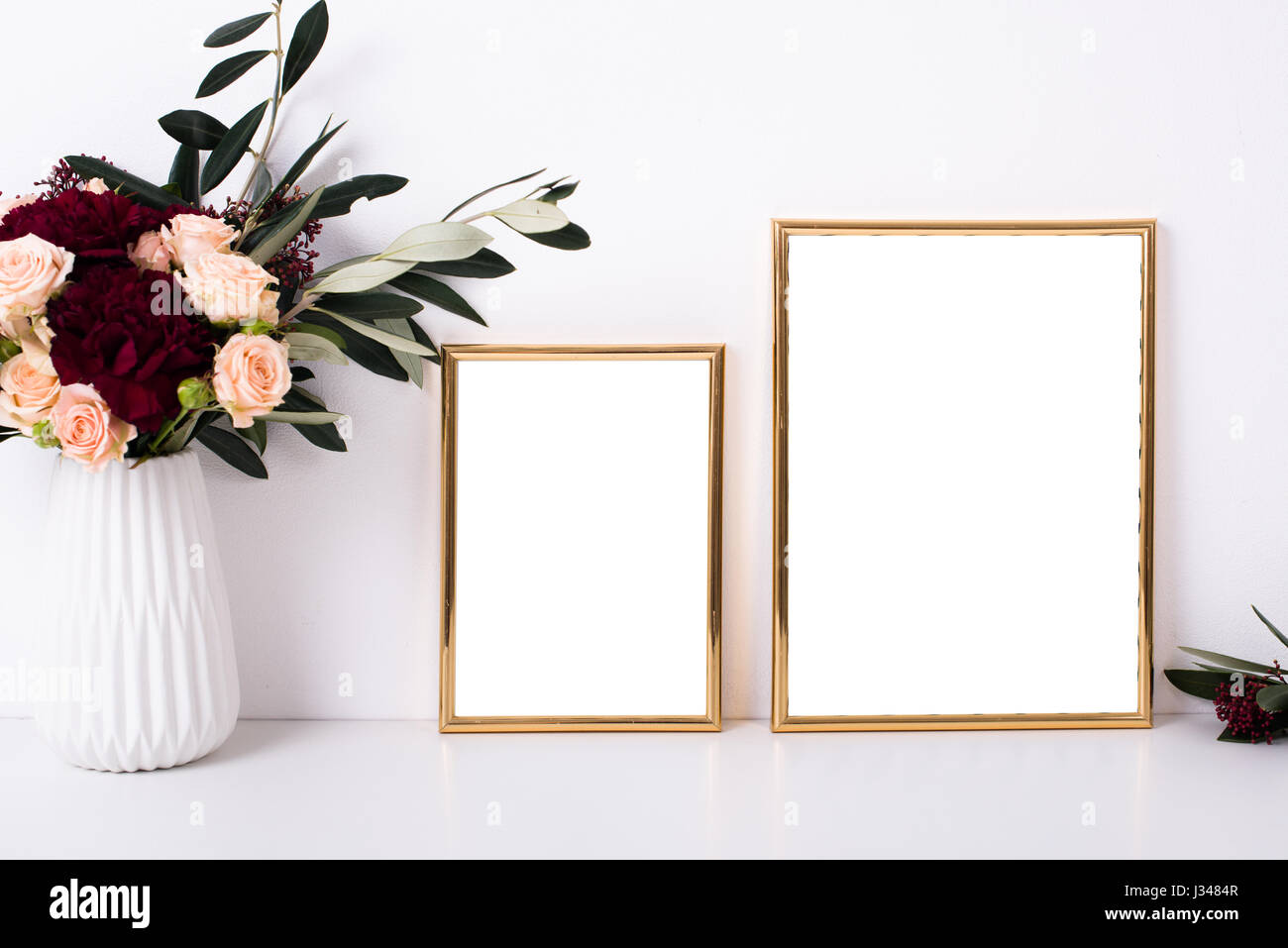 Two Golden Frames Mock Up On White Wall Background Home Decor With