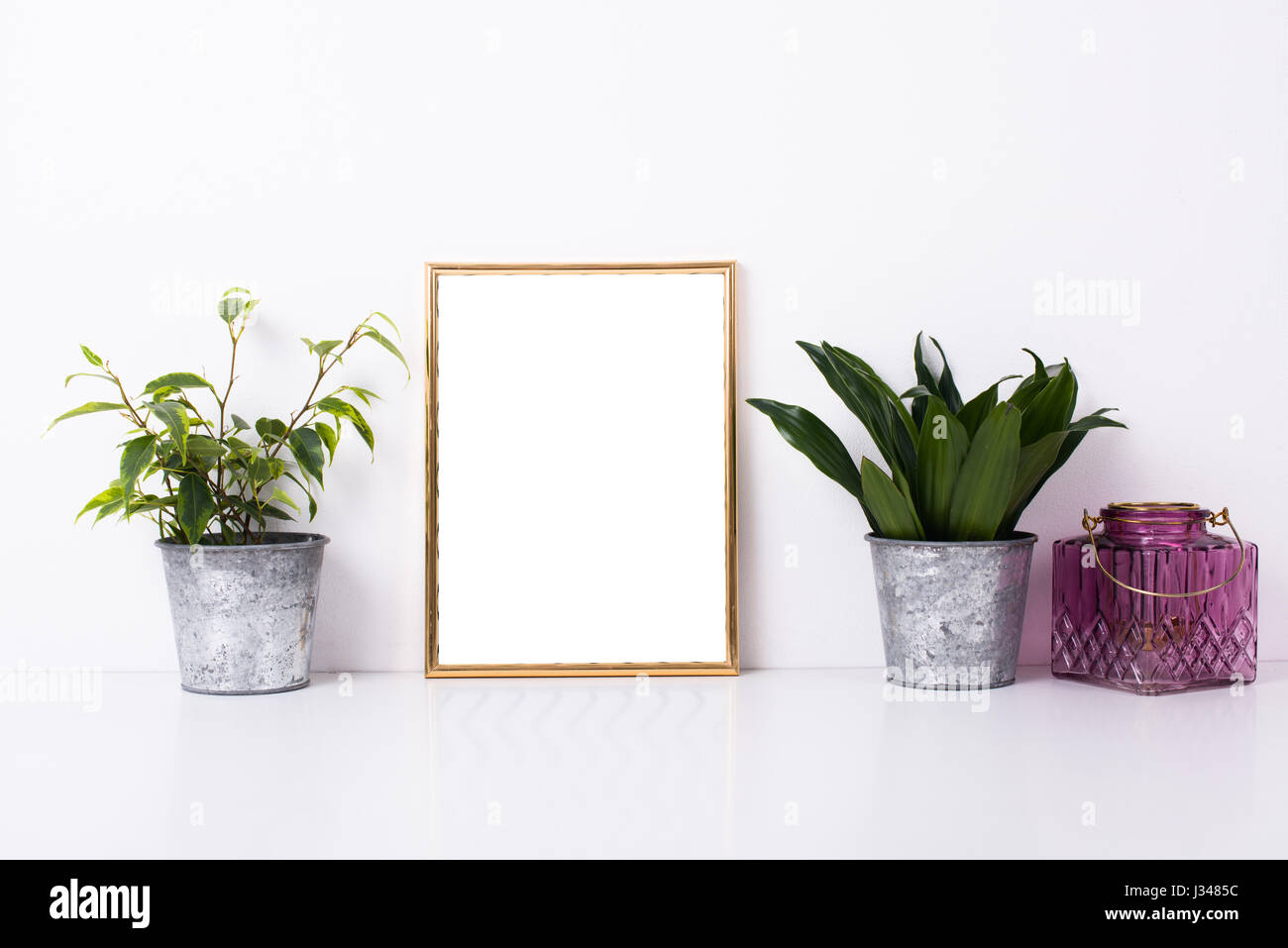 Golden Frame Mock Up On White Wall Background Home Decor With