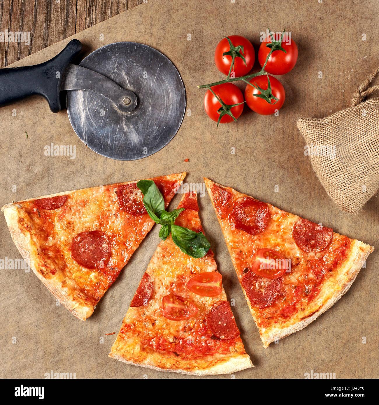 Pepperoni pizza. Flatlay. - Stock Image