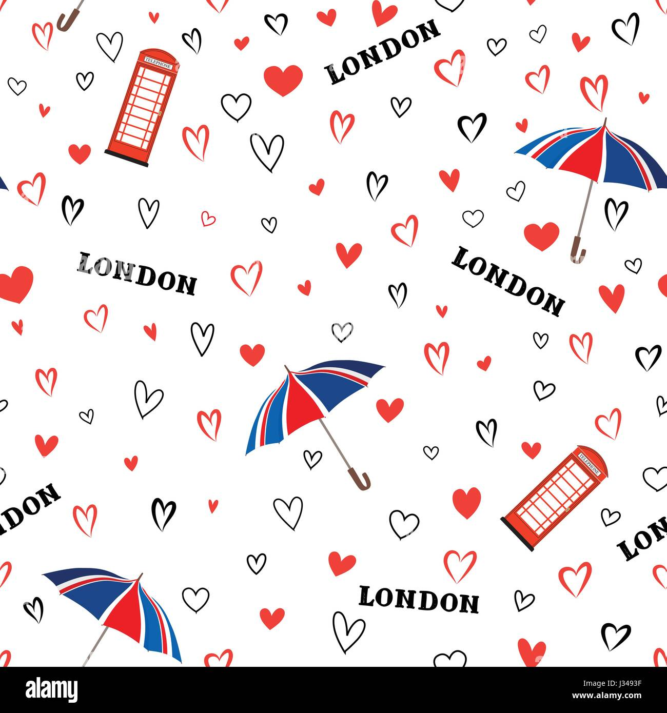 Travel London City Seamless Pattern With Love Hearts And Umbrella