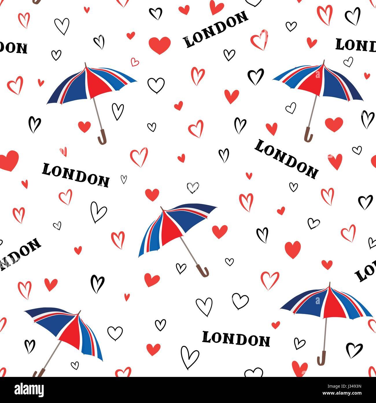 Travel London Seamless Pattern With Love Hearts And Umbrella British Fashion WallpaperEuropean Vacation