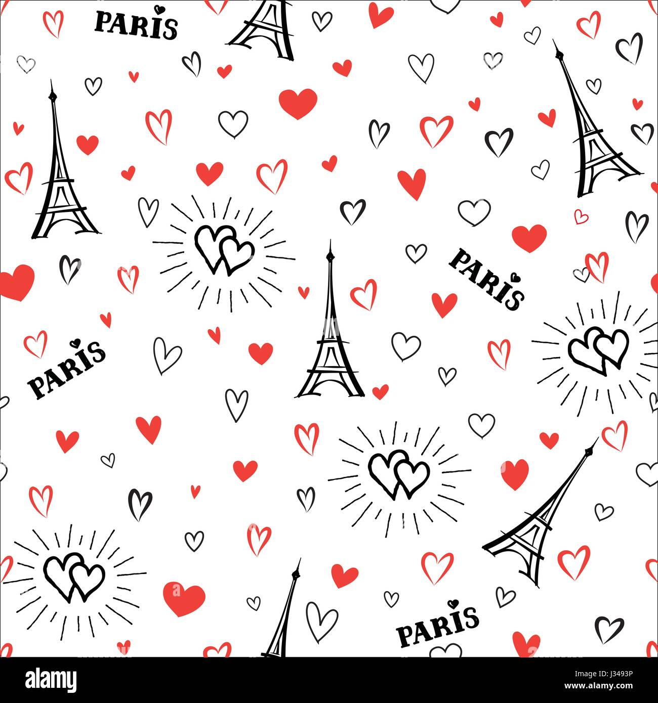 Travel France Seamless Pattern Paris City Vacation Wallpaper French Landmark Background Love Heart