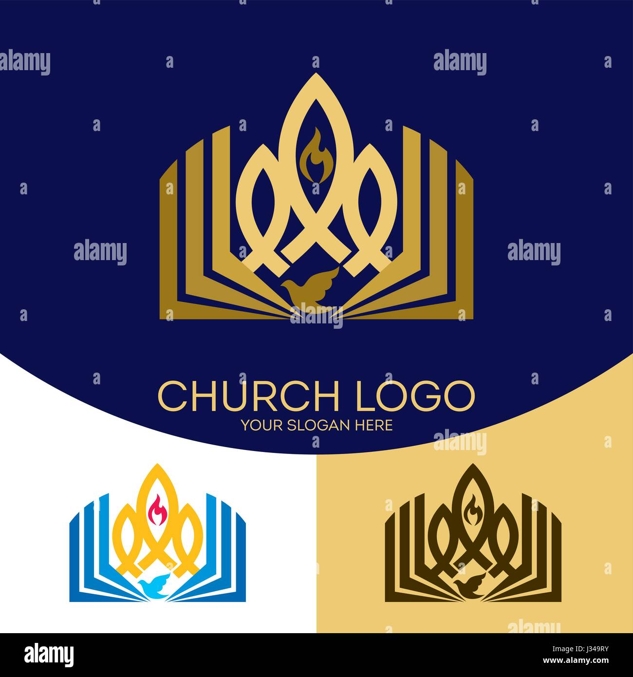 Church logo christian symbols the gospel the bible the flame christian symbols the gospel the bible the flame of the holy spirit a dove and a symbol of jesus christ a fish buycottarizona Choice Image