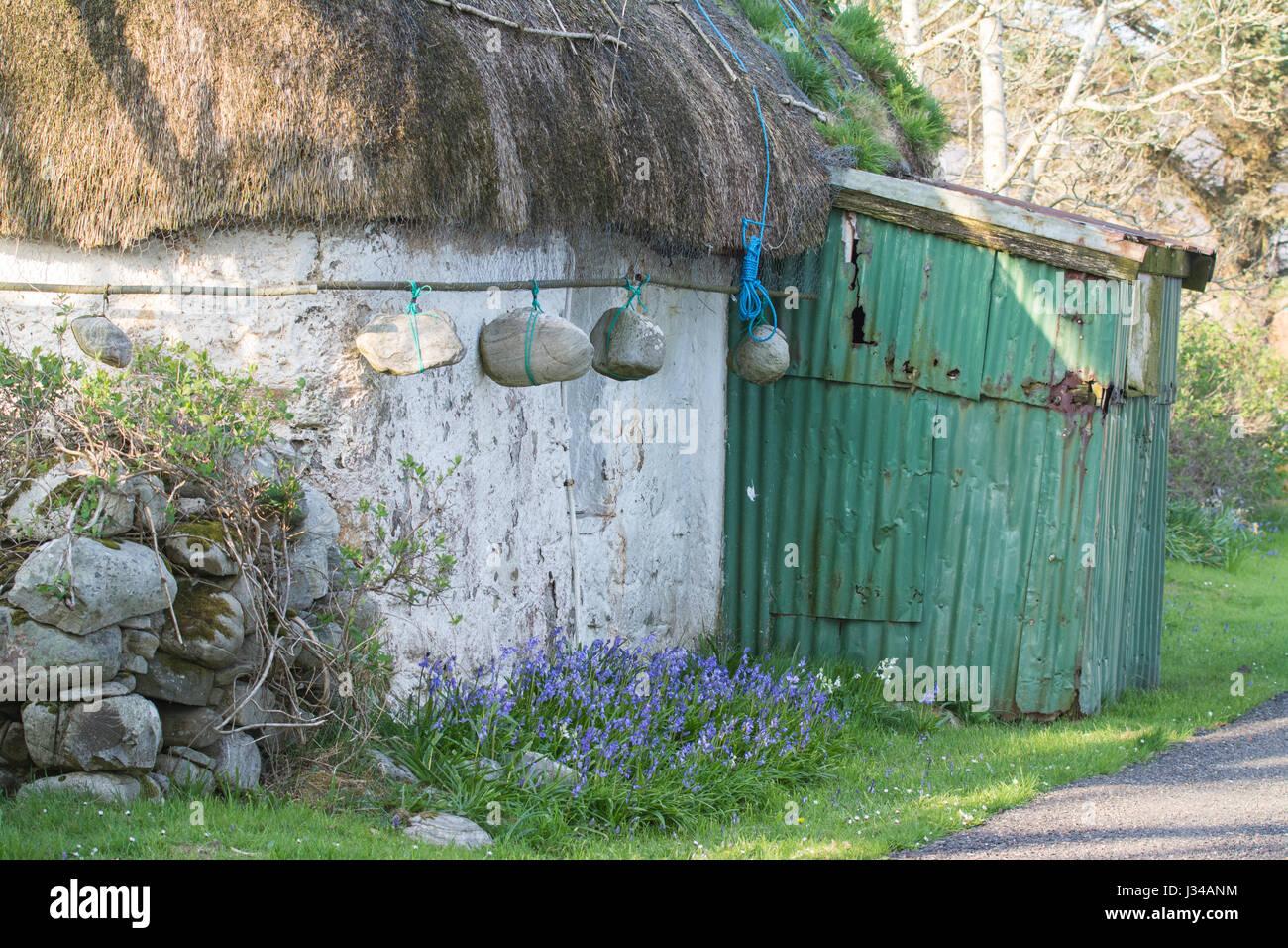 Thatched cottage - detail of last intact traditional Lochalsh cottage, Lower Ardelve, Lochalsh, Highland, Scotland Stock Photo