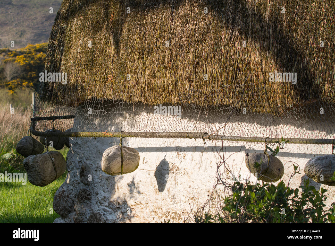 Thatched cottage - detail of last intact traditional Lochalsh cottage, Lower Ardelve, Lochalsh, Highland, Scotland Stock Photo