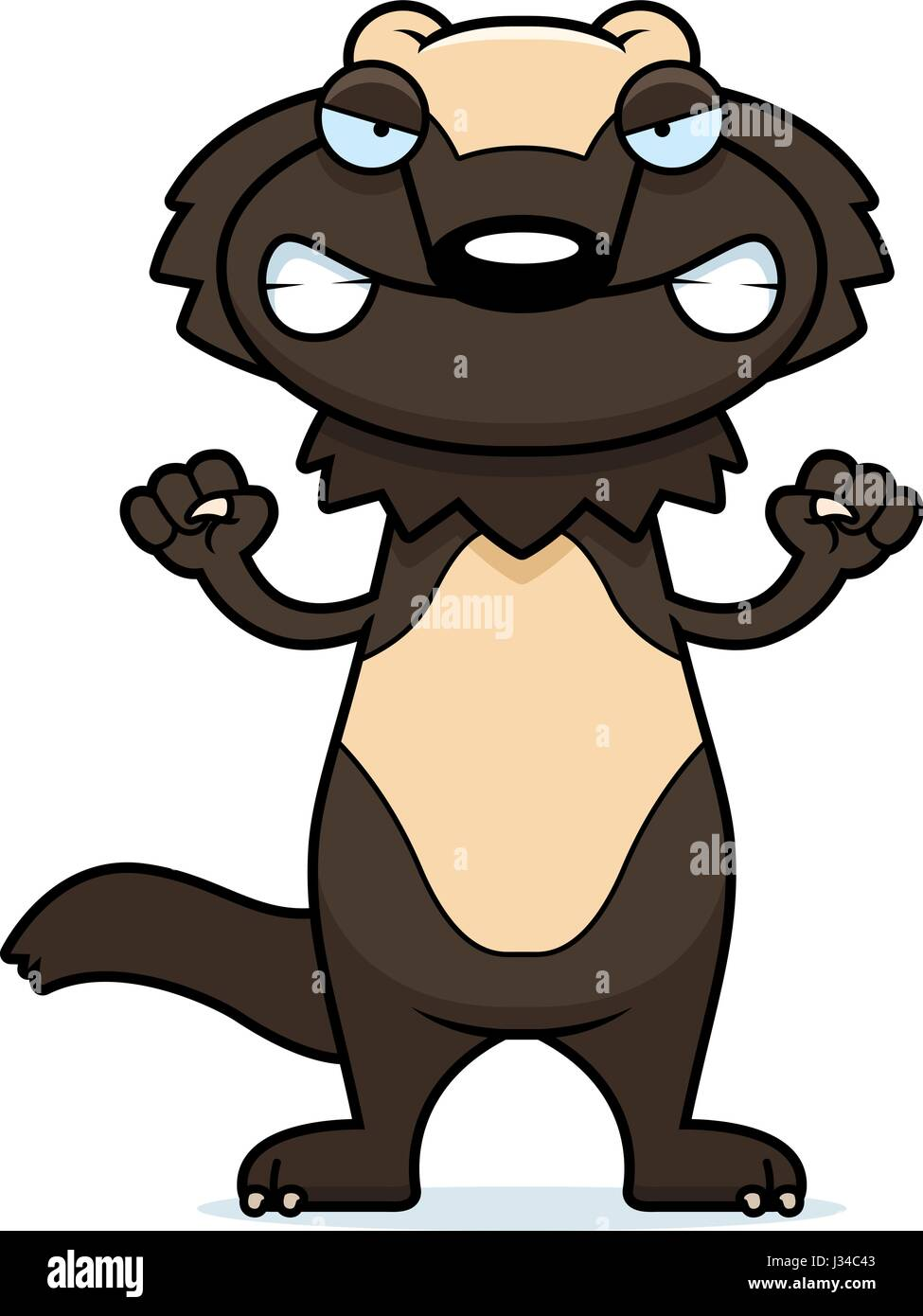 A cartoon illustration of a wolverine looking angry. - Stock Image
