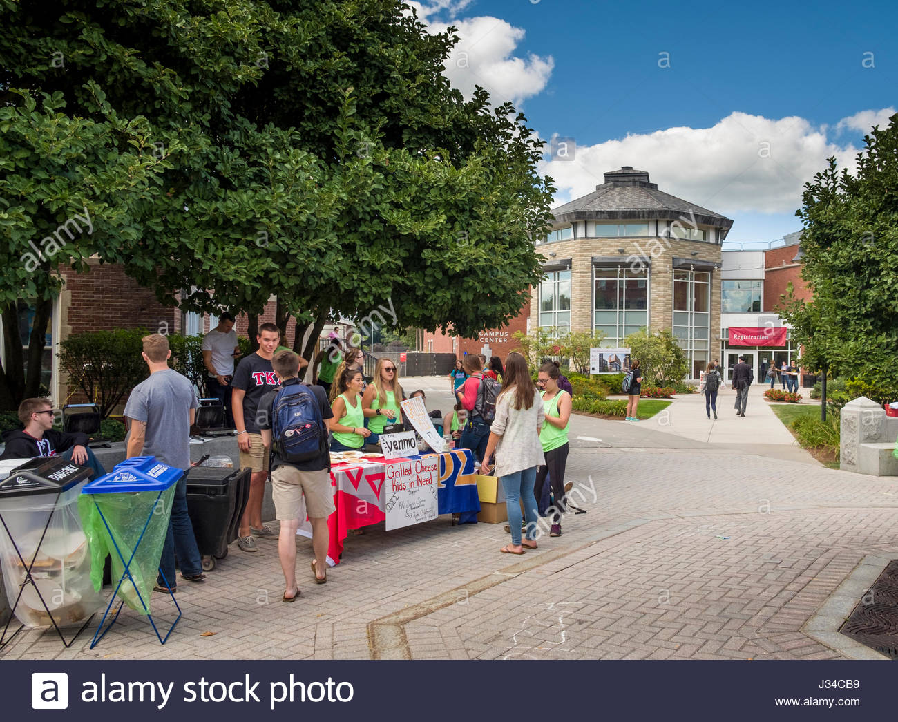Student sorority having a benefit at Freeman & Reunion Plazas on the campus of Worcester Polytechnic Institute, - Stock Image