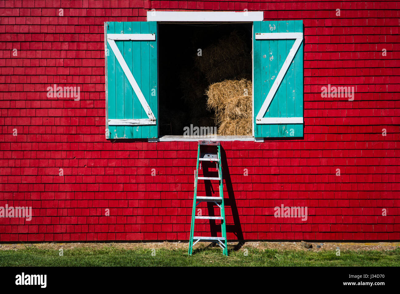 Turquoise Hay Loft Doors On A Red Barn Stock Photo 139625108 Alamy