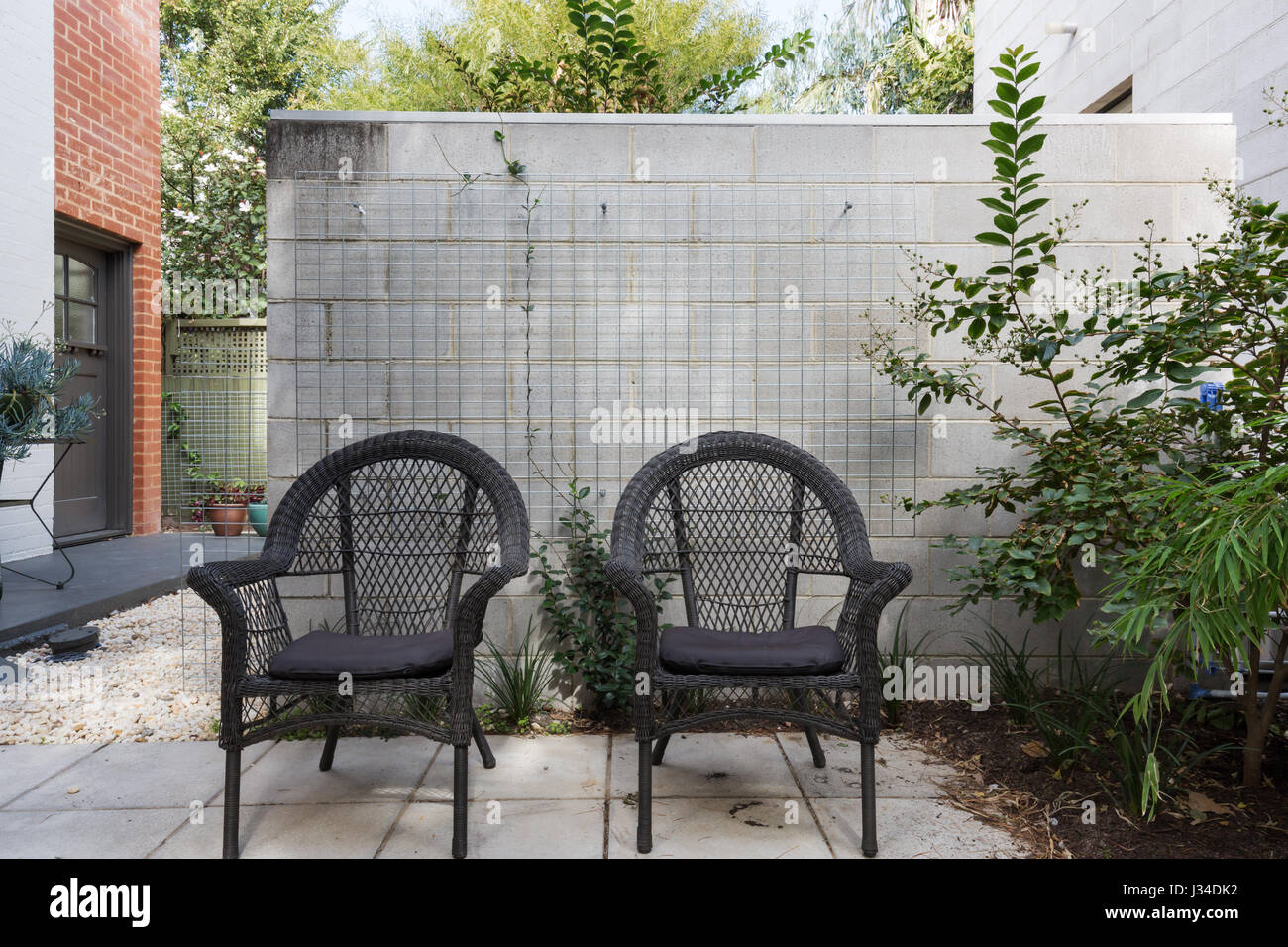 Admirable Pair Of Black Cane Outdoor Chairs In Modern Paved Australian Ibusinesslaw Wood Chair Design Ideas Ibusinesslaworg