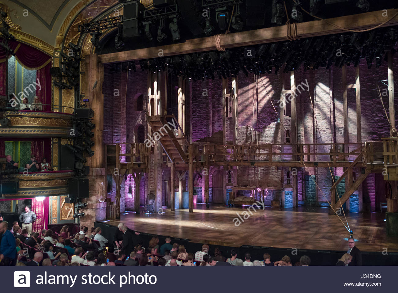 Stage for the Broadway musical Hamilton in the Richard Rodgers Theatre, W 46th St, New York, NY, USA - Stock Image