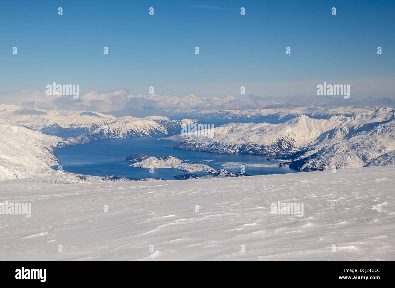 View from the top of a glacier looking down over Prince William Sound, in the Gulf of Alaska on the south coast Stock Photo