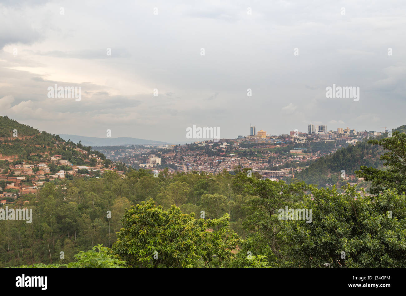Overlooking the city of KIgali in Rwanda, Africa - Stock Image