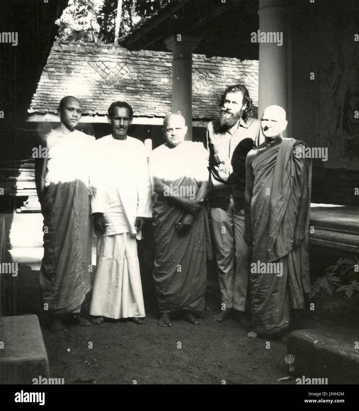 Group photo with the guru, India - Stock Image
