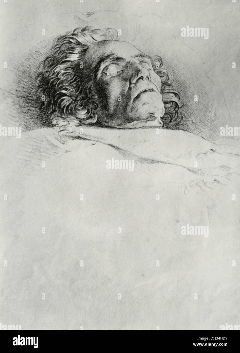 Death of Ludwig van Beethoven, Lithograph by Josef Danhauser - Stock Image