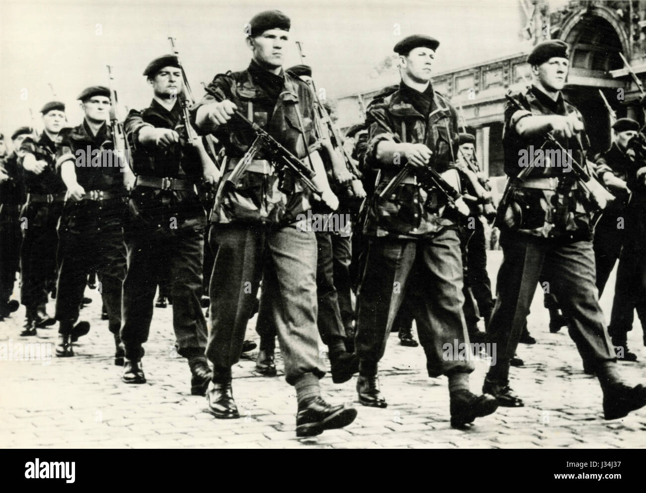 East Germany troops marching, East Berlin - Stock Image