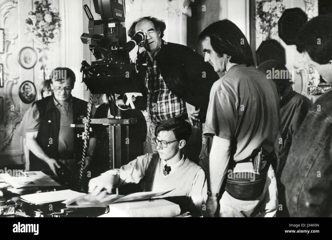 Movie director George Sluizer on the set of Utz, 1992 - Stock Image