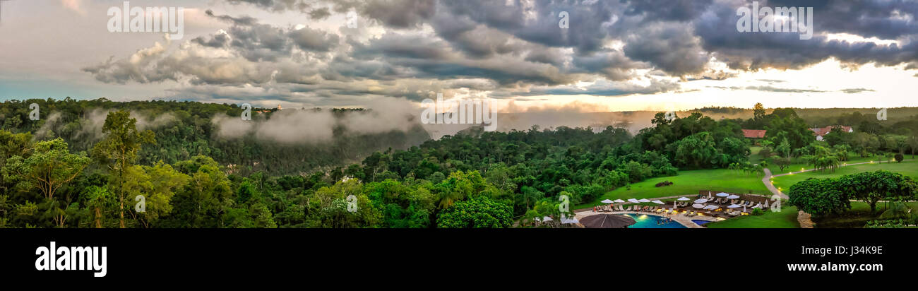Panoramic Argentina falls view from balcony - Stock Image