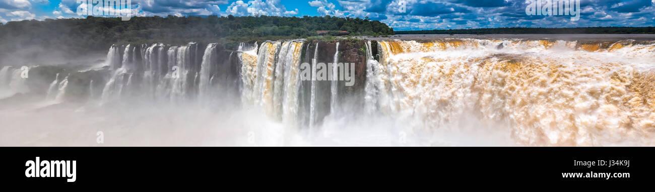 Panoramic view Argentina falls close-up - Stock Image