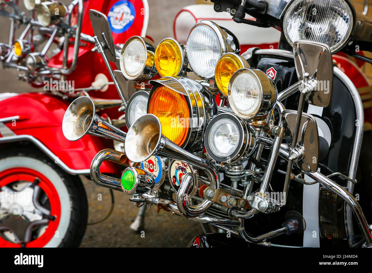 Fog lights and klaxon horns fitted to a MOD scooter, Scotland, UK - Stock Image