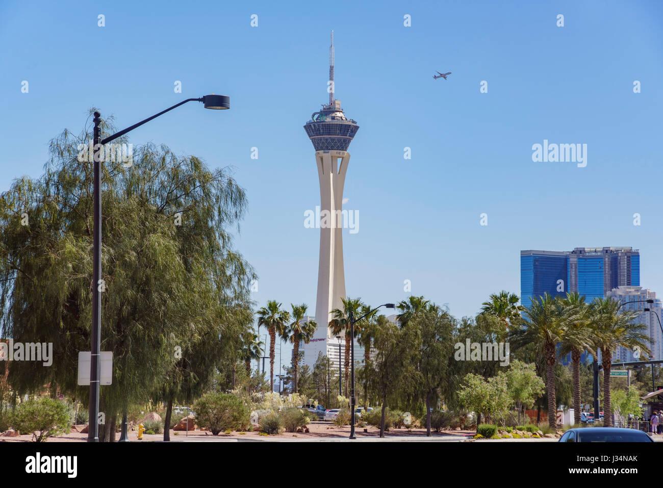 Las Vegas, APR 29: Morning view of Stratosphere Casino, Hotel & Tower on APR 29, 2017 at Las Vegas, Nevada - Stock Image