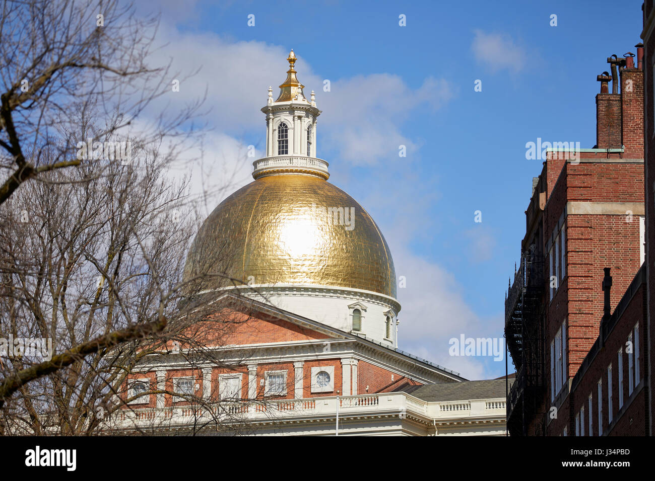 New State House, statehouse, Beacon Hill Historic District, Boston  Massachusetts, United States, USA, - Stock Image