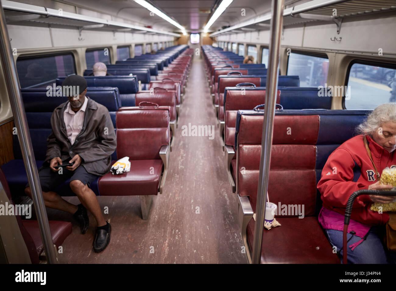 Boston inside a MBTA Commuter Rail  train coach  Massachusetts, United States, USA, - Stock Image
