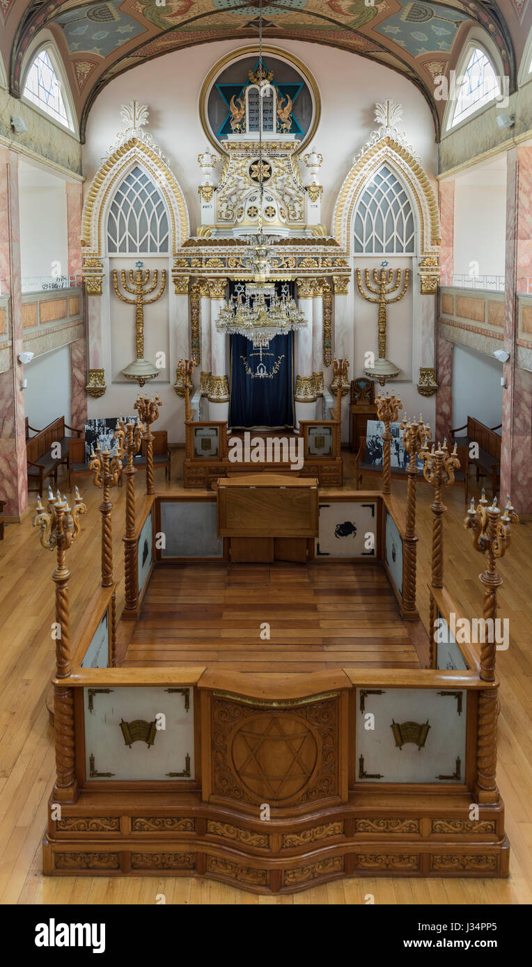 Mexico City, Mexico - 24 April 2017: Interior of Sinagoga Historica Justo Sierra, the city's  first synagogue. - Stock Image