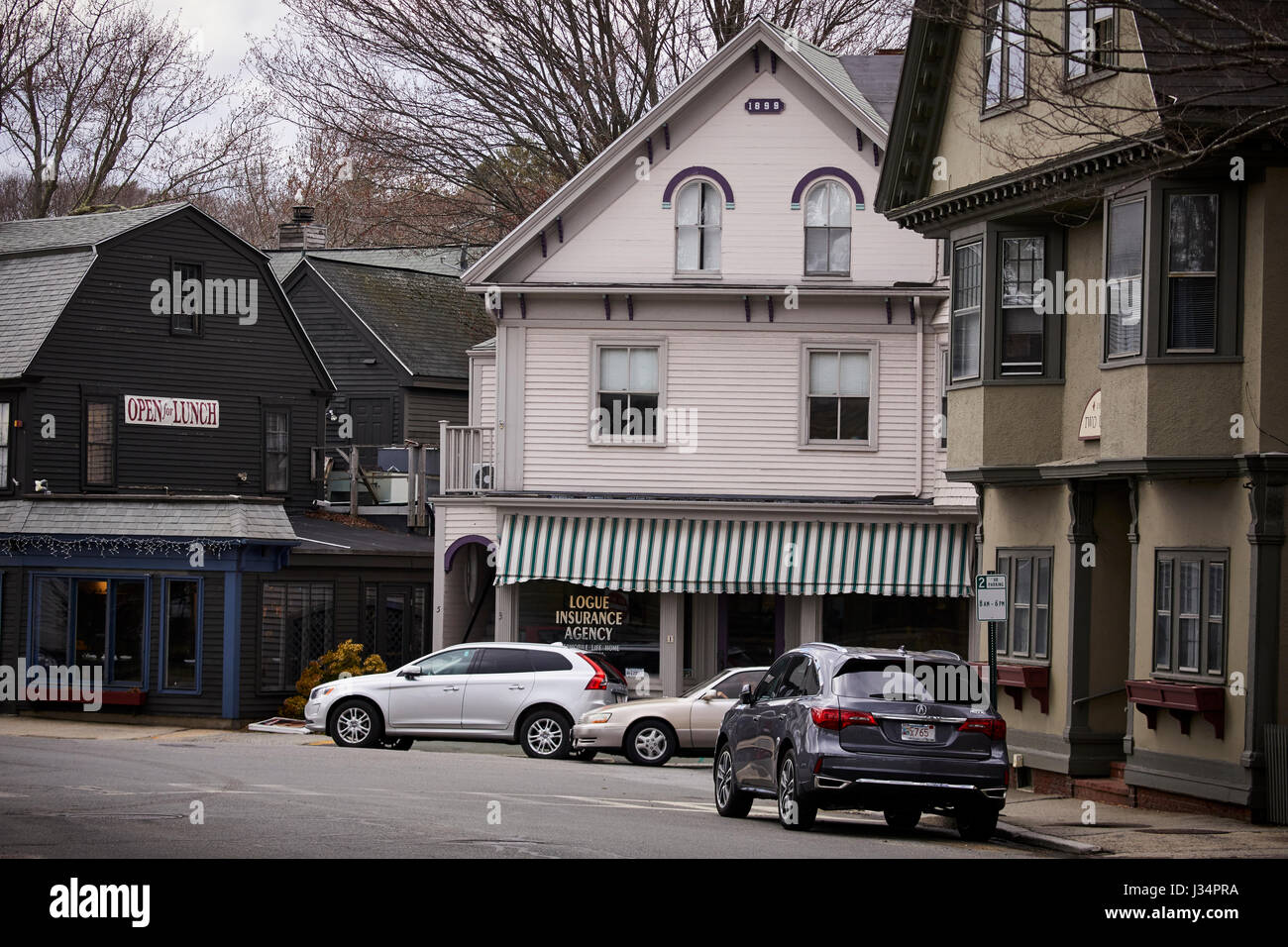 Union Street shops near the  harbor  Manchester by the Sea, Boston, Massachusetts, United States, USA, Stock Photo