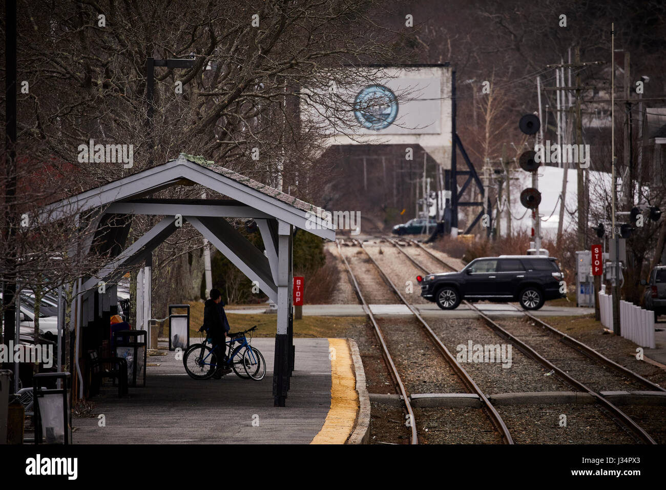 Railroad station and level crossing Manchester by the Sea, Boston, Massachusetts, United States, USA, Stock Photo