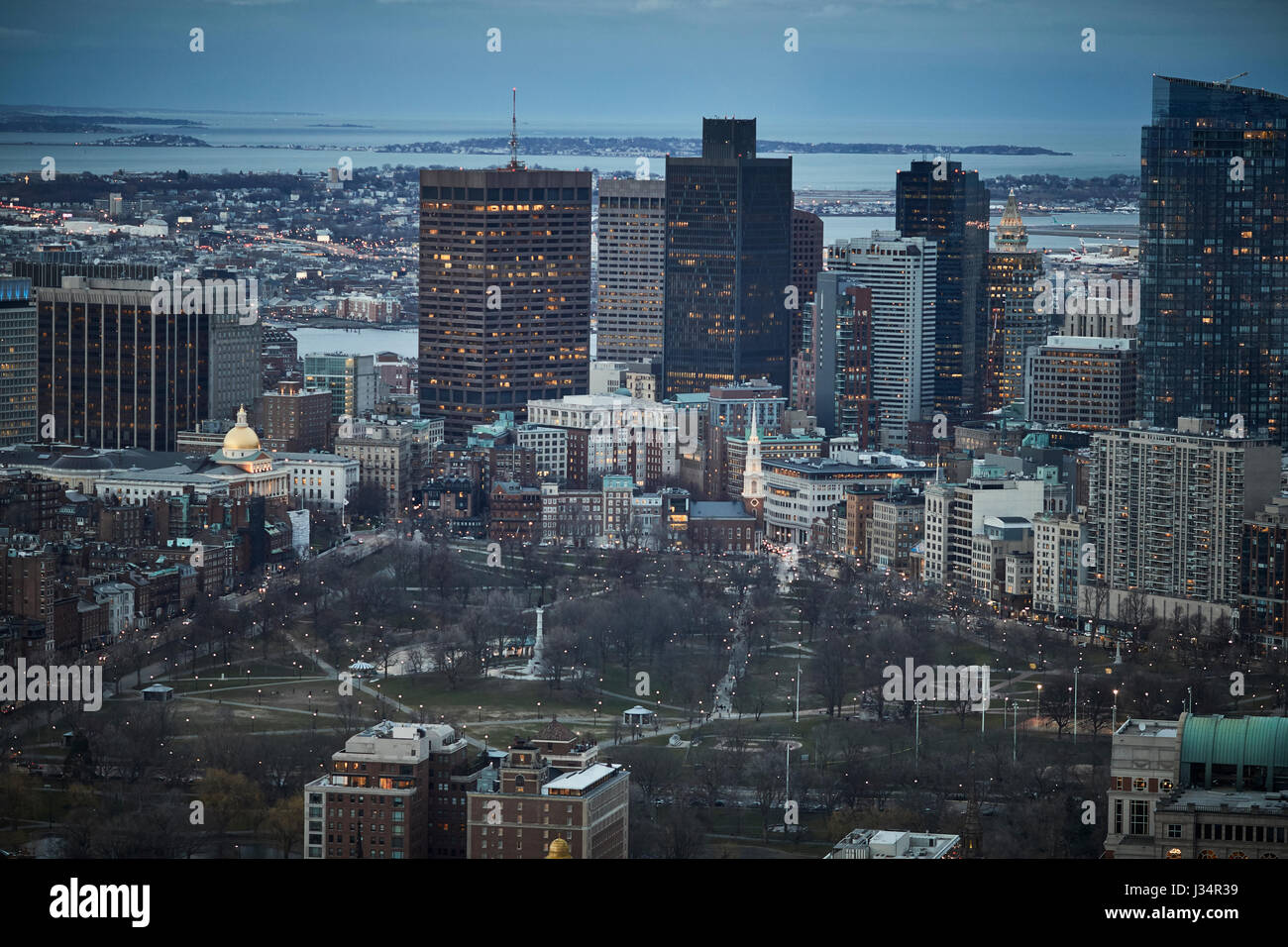 Skyline and  Boston Common, the country's oldest park Beacon Hill Historic District, Boston  Massachusetts, - Stock Image