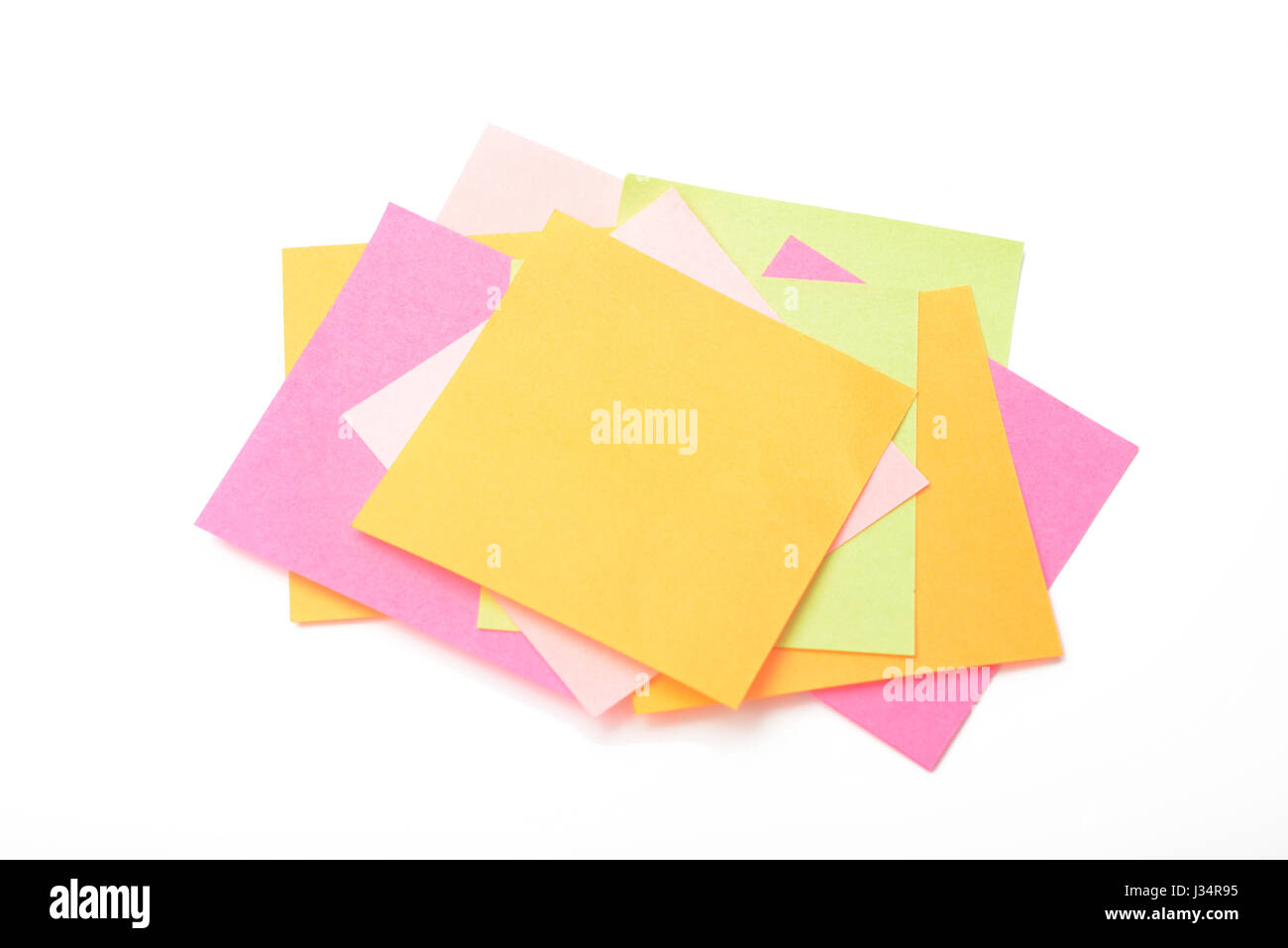 paper for notes of color on white background - Stock Image