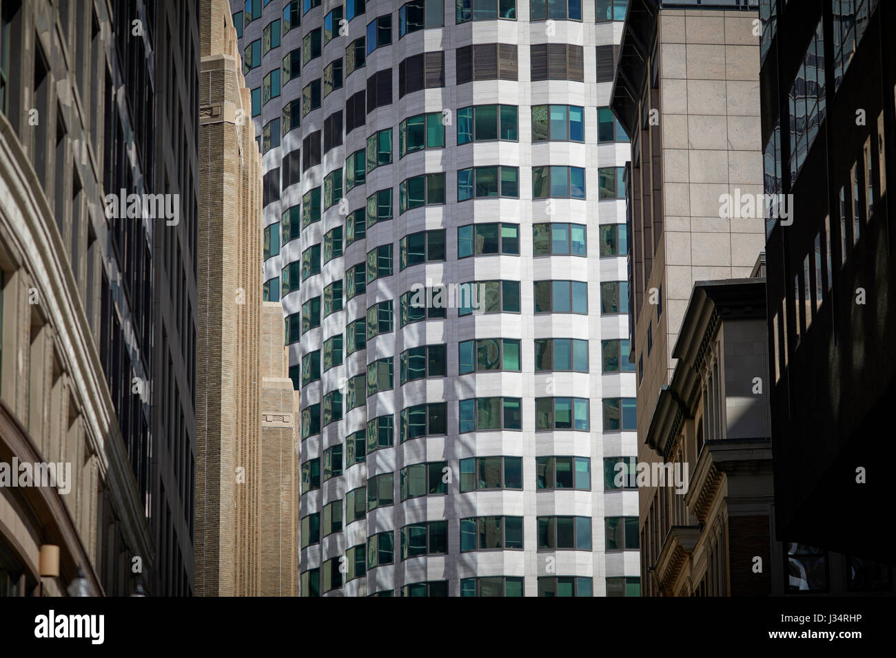 Close up of Keystone Building is a high-rise office building located in downtown Boston Massachusetts, United States, - Stock Image