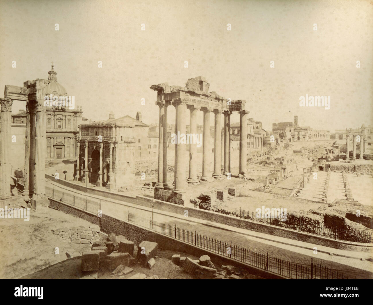 The Roman Forum and Temple of Concord, Rome, Italy - Stock Image