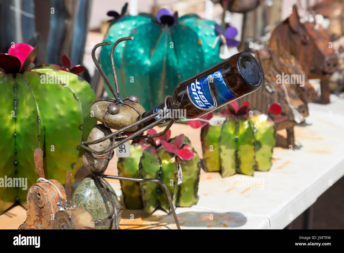 Tubac, Arizona - Arts and crafts displayed for sale in a southern Arizona artists' colony. - Stock Image