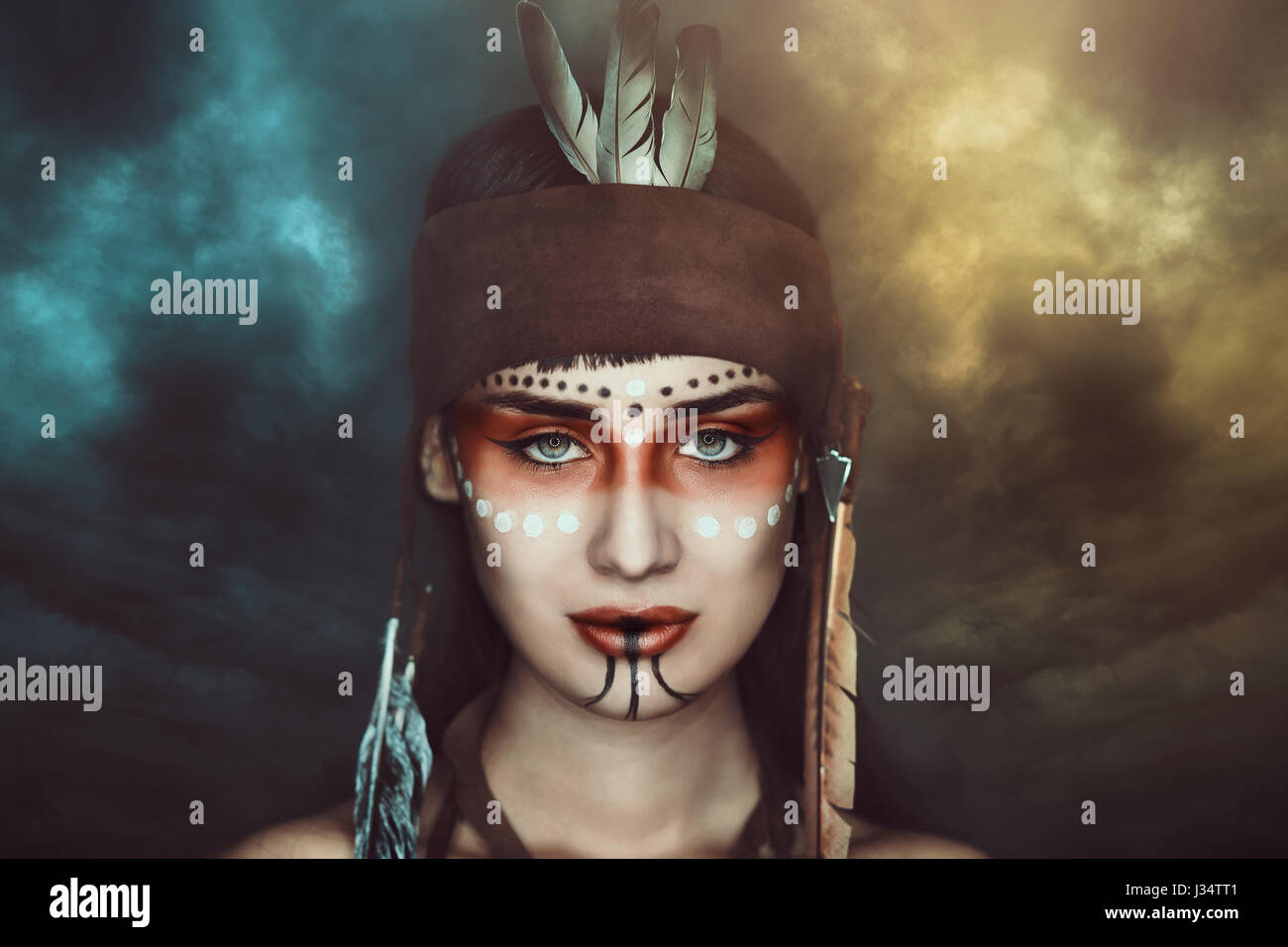 Storm Shaman Native American Make Up Stock Photo 139634209 Alamy