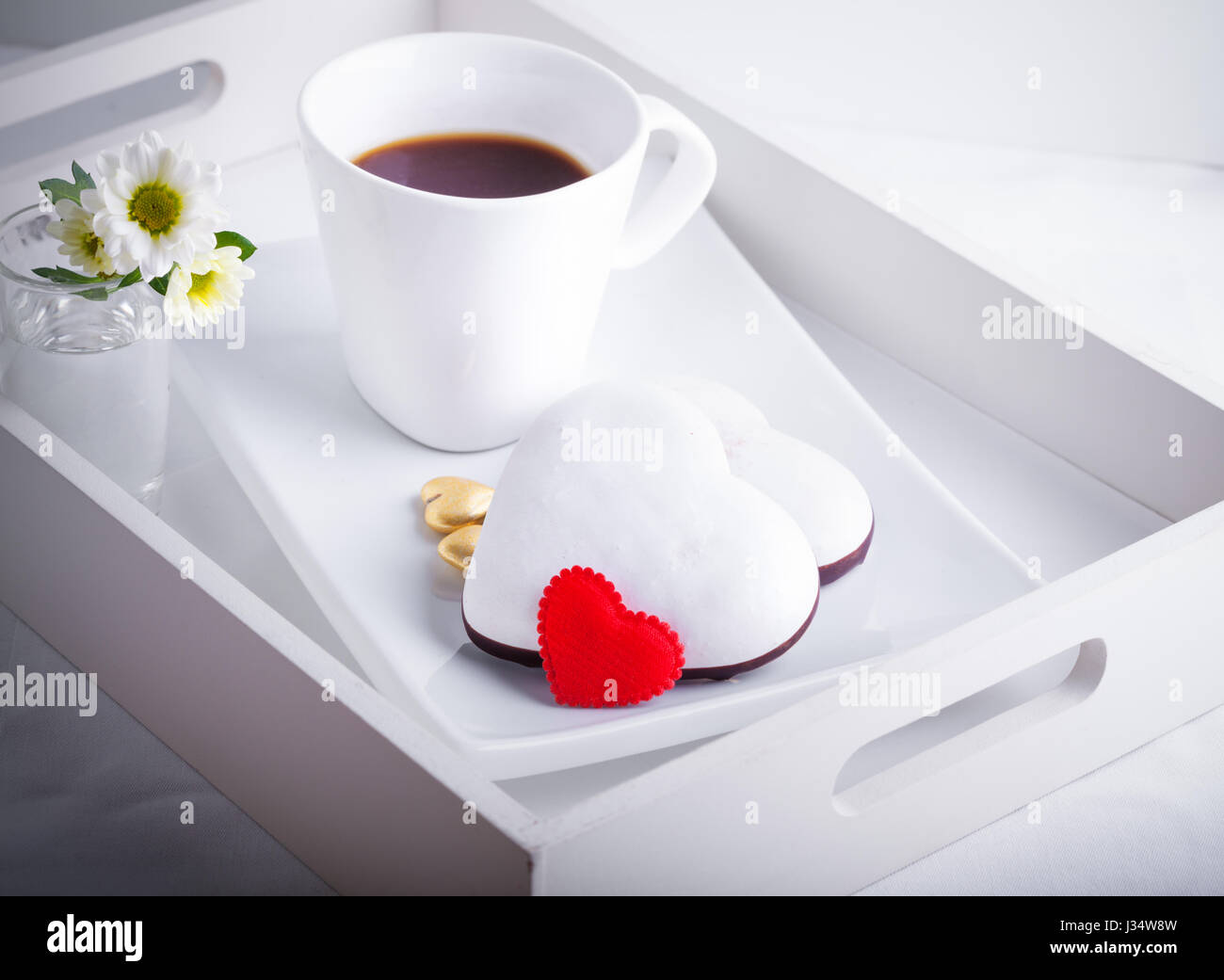 Valentine's Cookies and coffee Stock Photo