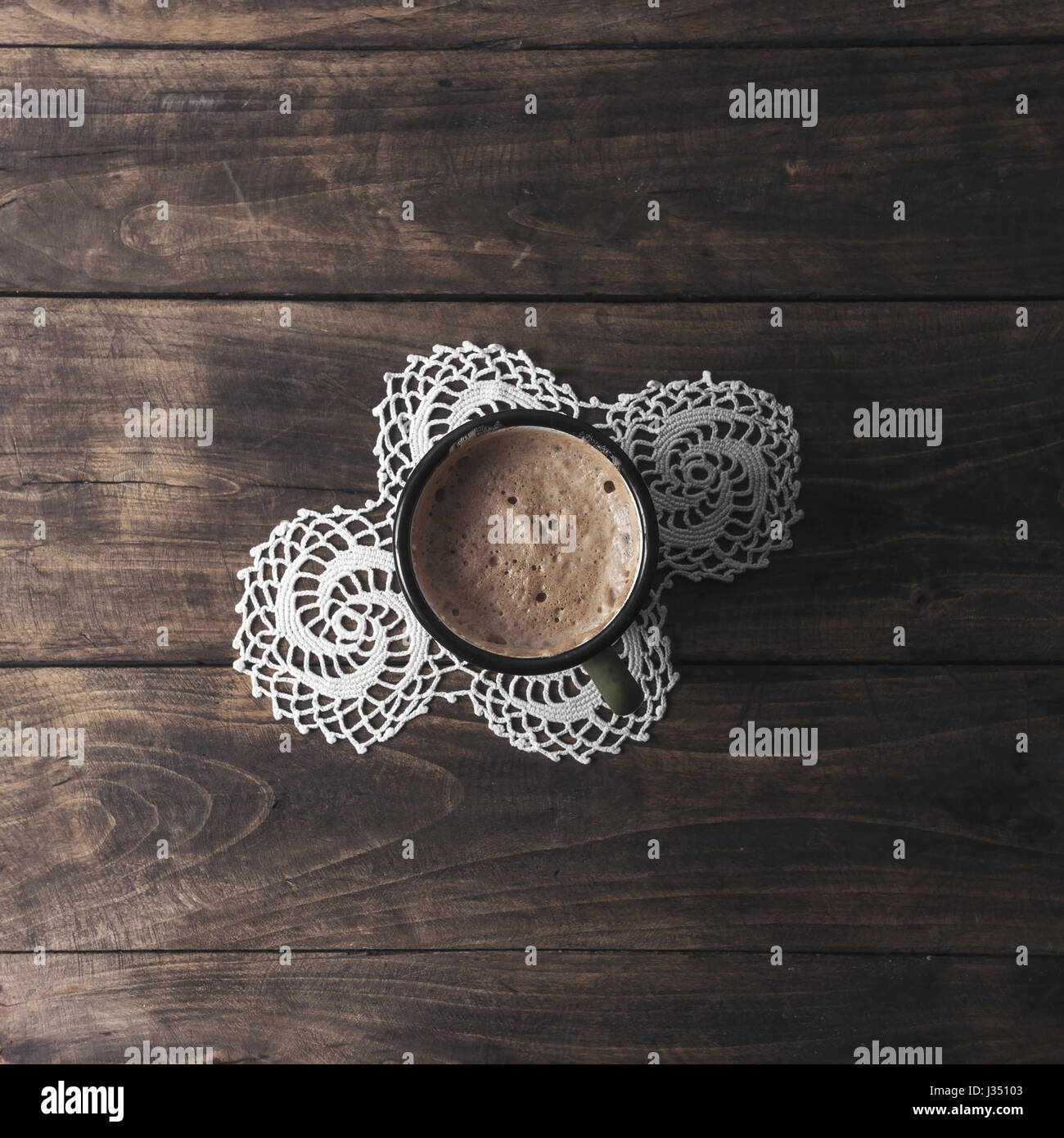 greek coffee on old wooden table, from above - Stock Image
