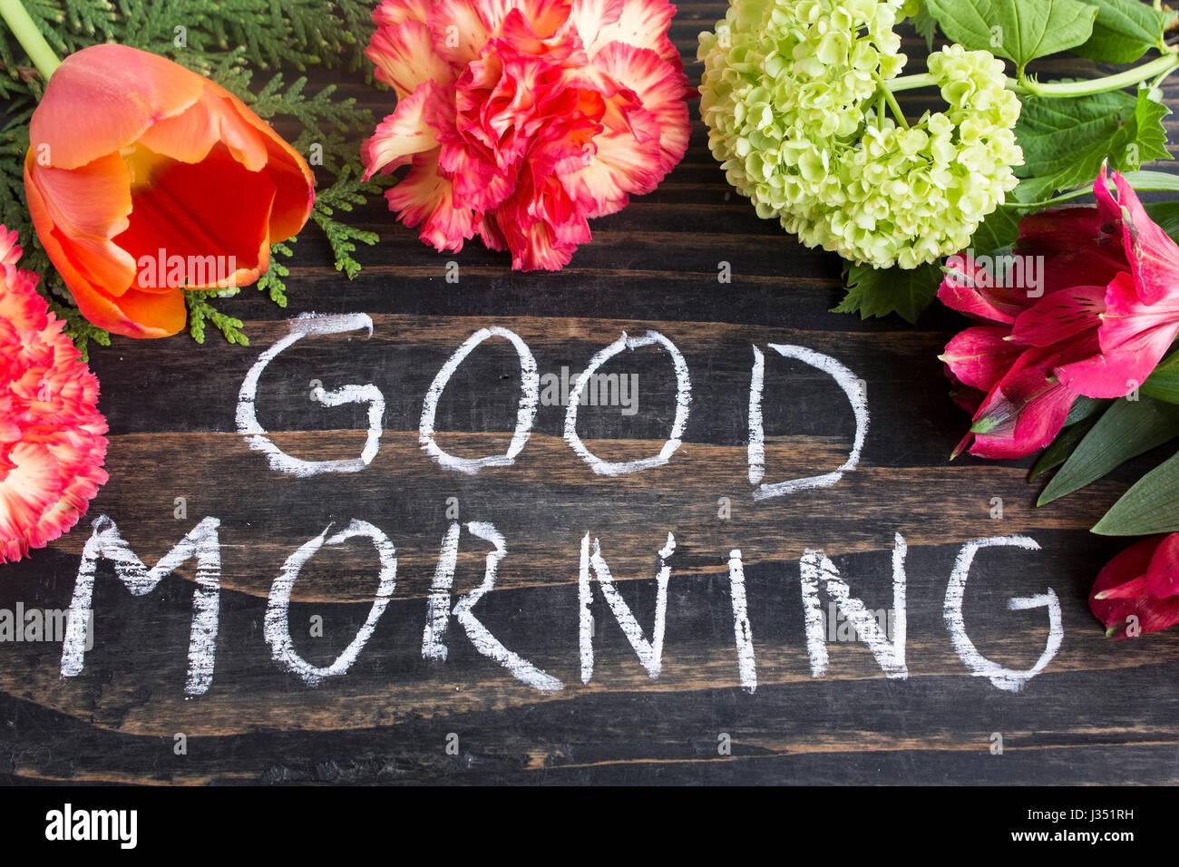 Words Good Morning Summer Flowers Stock Photos Words Good Morning
