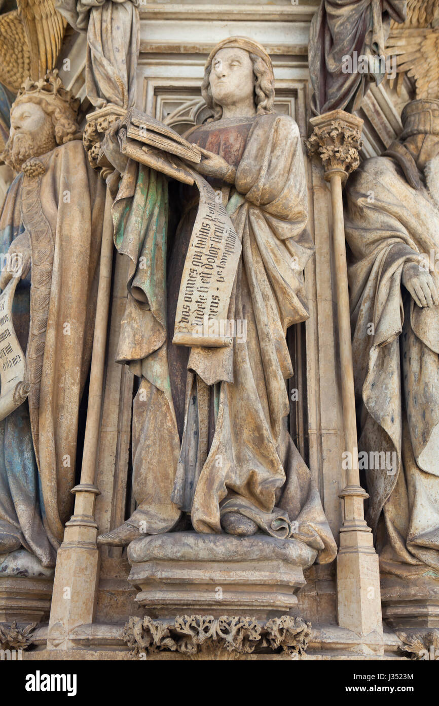 Jeremiah the Prophet depicted on the Well of Moses by Dutch Renaissance sculptor Claus Sluter in the Chartreuse - Stock Image