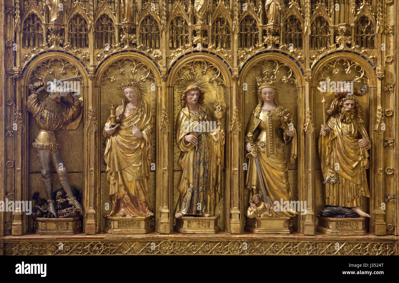 Saint George killing the Dragon, Mary Magdalene, Saint John the Evangelist, Saint Catherine and Saint Christopher Stock Photo