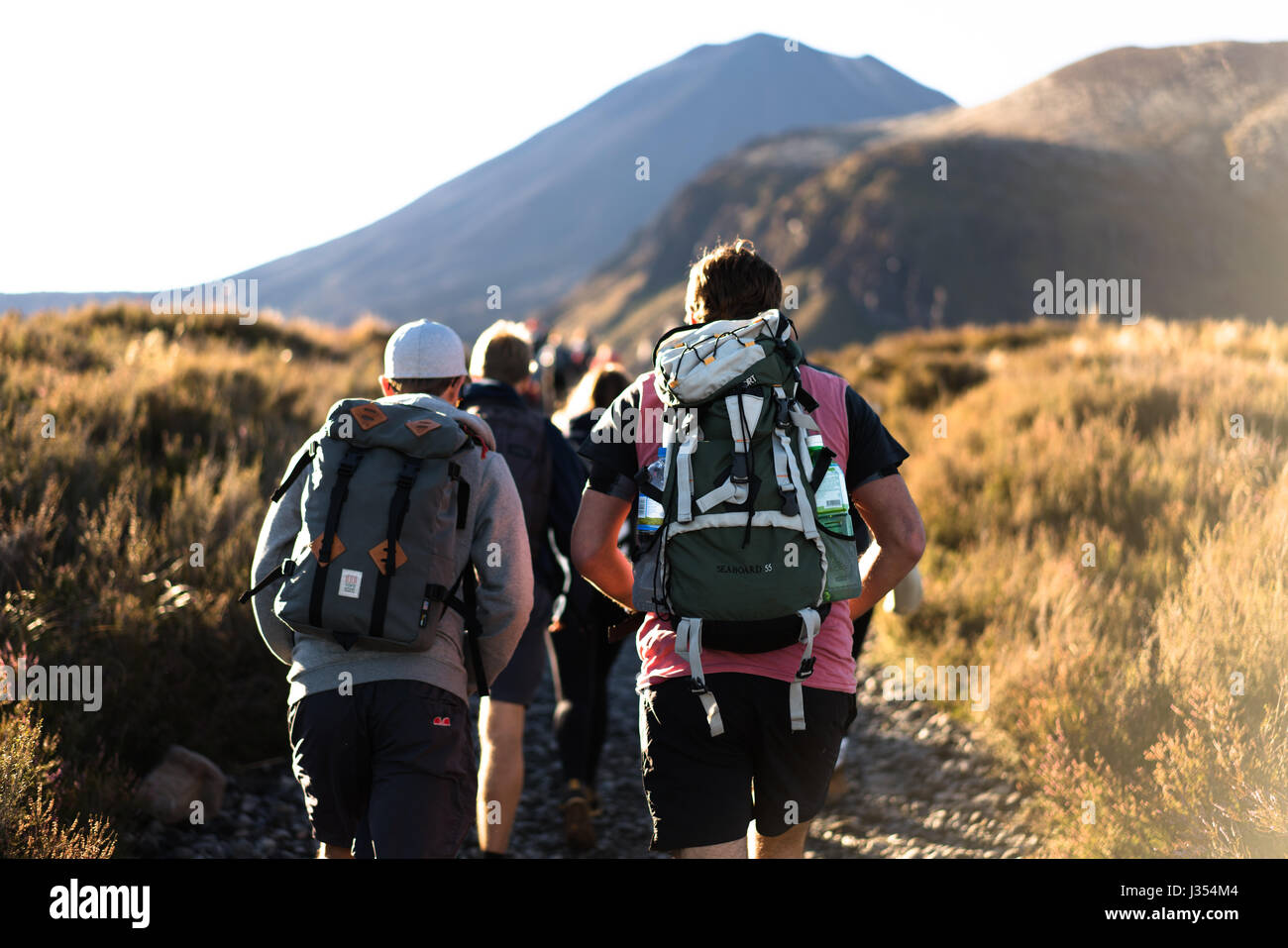 A group walking toward the Tongariro Alpine Crossing in the Central North Island of New Zealand. - Stock Image