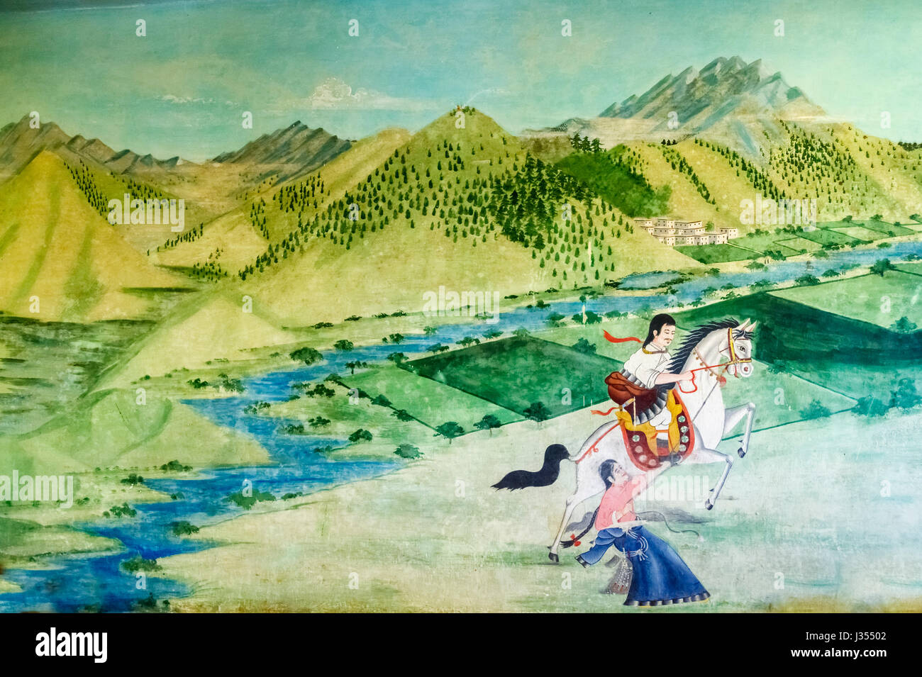 Wall painting, Chonor House Hotel, McLeodGanj, Dharamshala, north India: Tibetan mountainous scenery and culture, - Stock Image
