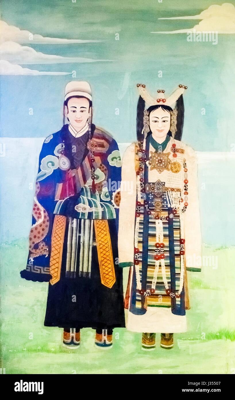 Wall painting, Chonor House Hotel, McLeodGanj, Dharamshala, Himachal Pradesh, north India depicting Tibetan ceremonial - Stock Image